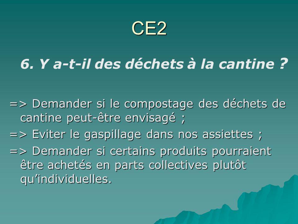 CE2 6. Y a-t-il des déchets à la cantine