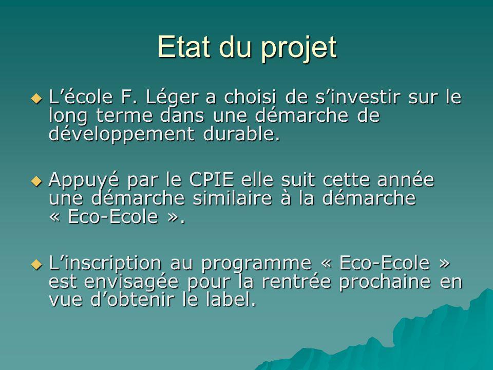 Etat du projet L'école F. Léger a choisi de s'investir sur le long terme dans une démarche de développement durable.