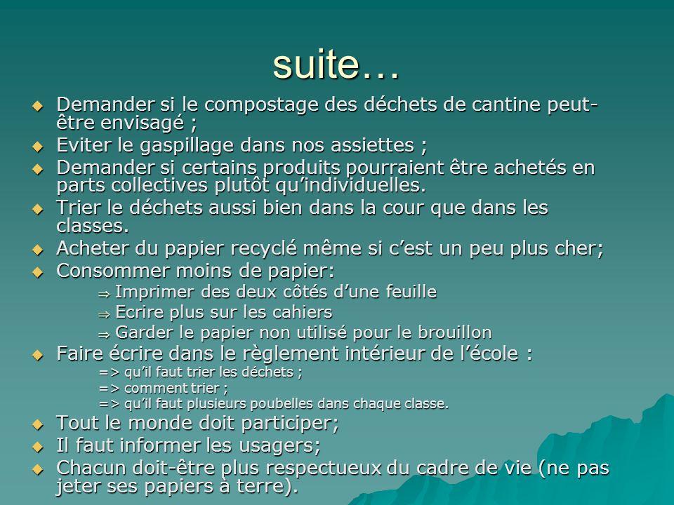 suite… Demander si le compostage des déchets de cantine peut-être envisagé ; Eviter le gaspillage dans nos assiettes ;