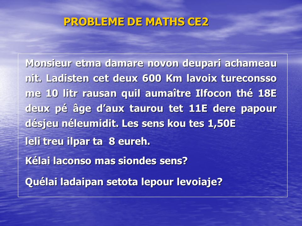 PROBLEME DE MATHS CE2