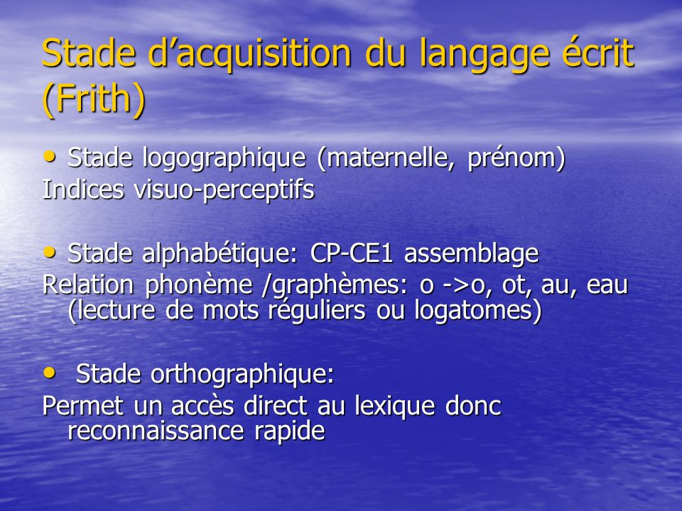 Stade d'acquisition du langage écrit (Frith)