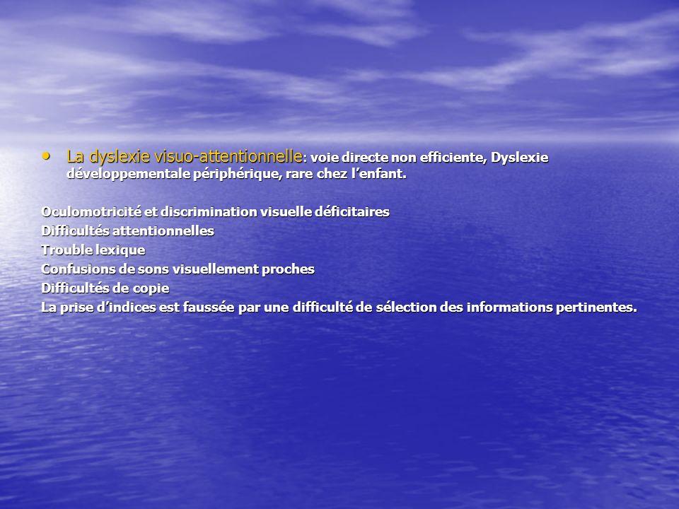 La dyslexie visuo-attentionnelle: voie directe non efficiente, Dyslexie développementale périphérique, rare chez l'enfant.