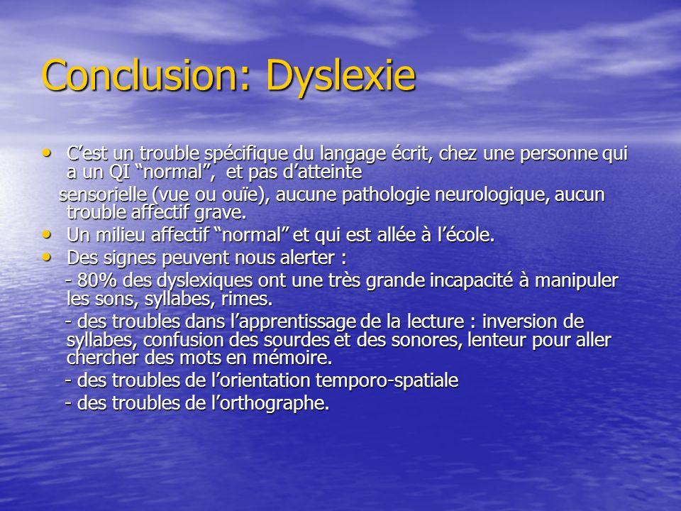 Conclusion: DyslexieC'est un trouble spécifique du langage écrit, chez une personne qui a un QI normal , et pas d'atteinte.
