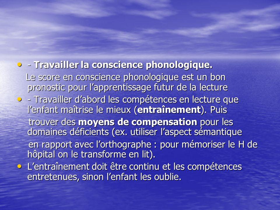 - Travailler la conscience phonologique.