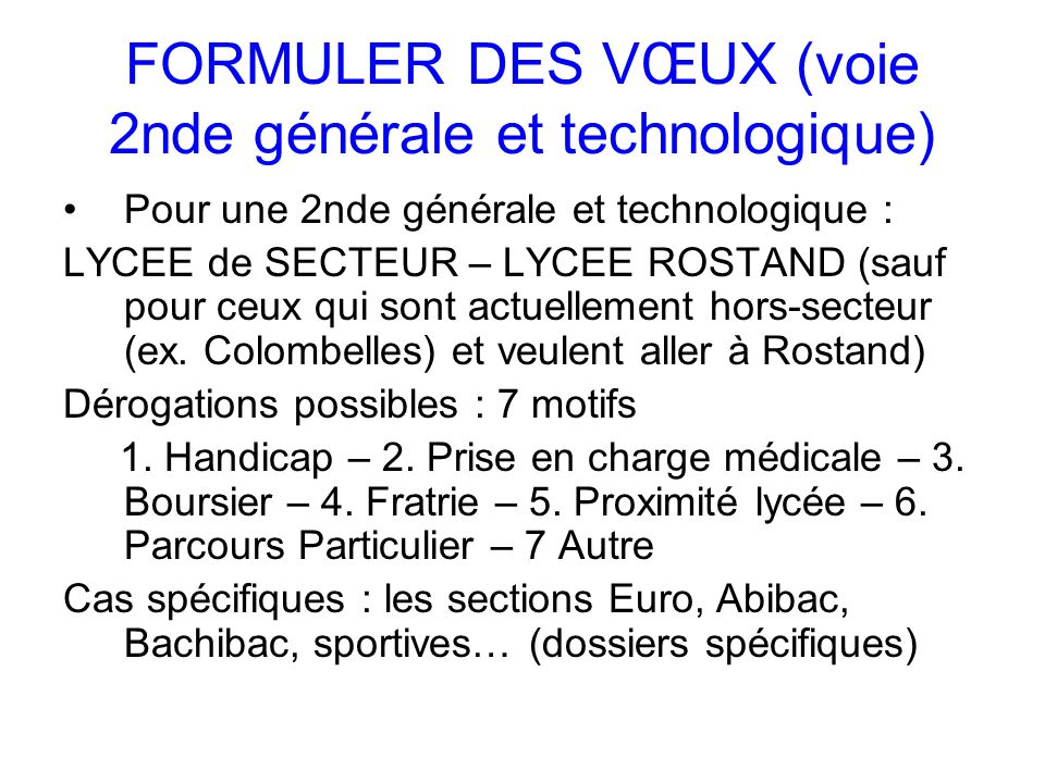 FORMULER DES VŒUX (voie 2nde générale et technologique)