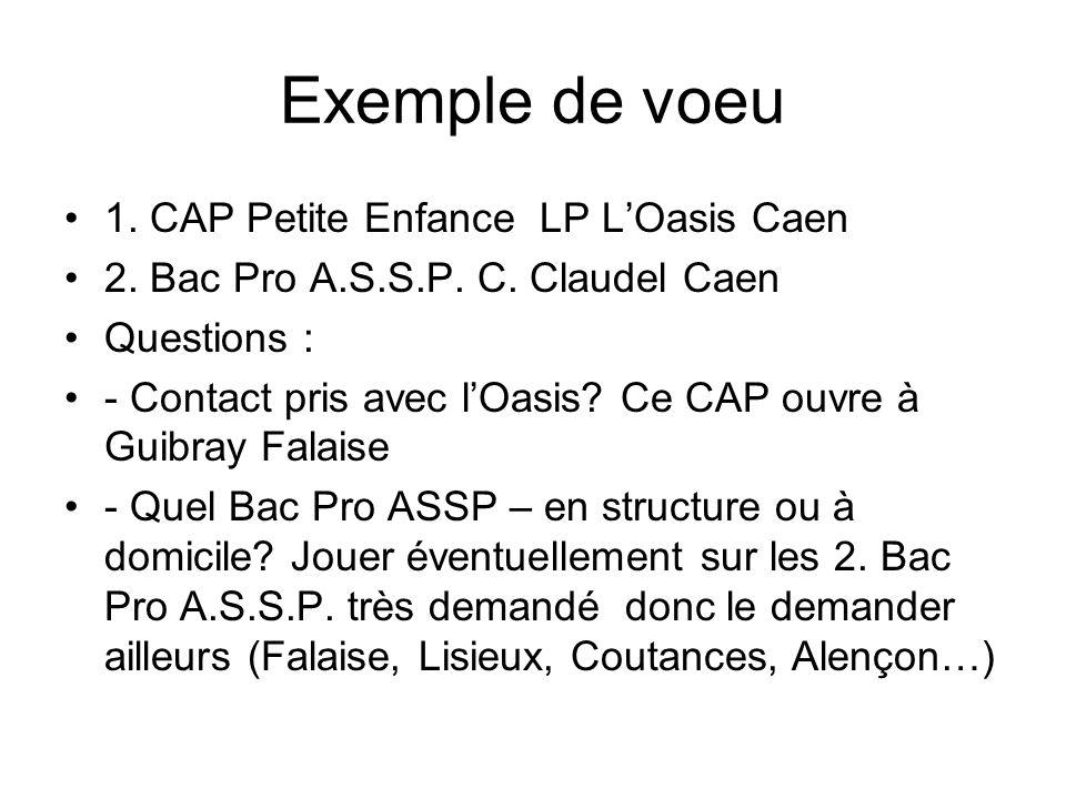 Exemple de voeu 1. CAP Petite Enfance LP L'Oasis Caen