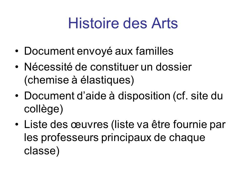 Histoire des Arts Document envoyé aux familles