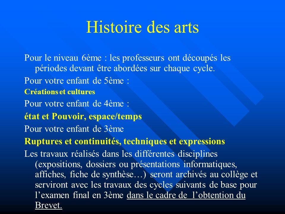 Histoire des arts Pour le niveau 6ème : les professeurs ont découpés les périodes devant être abordées sur chaque cycle.