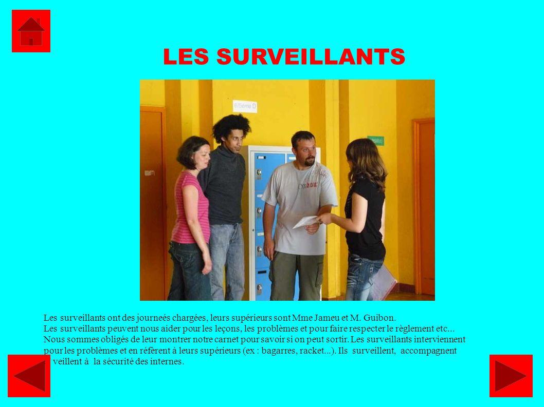 LES SURVEILLANTS Les surveillants ont des journeés chargées, leurs supérieurs sont Mme Jameu et M. Guibon.