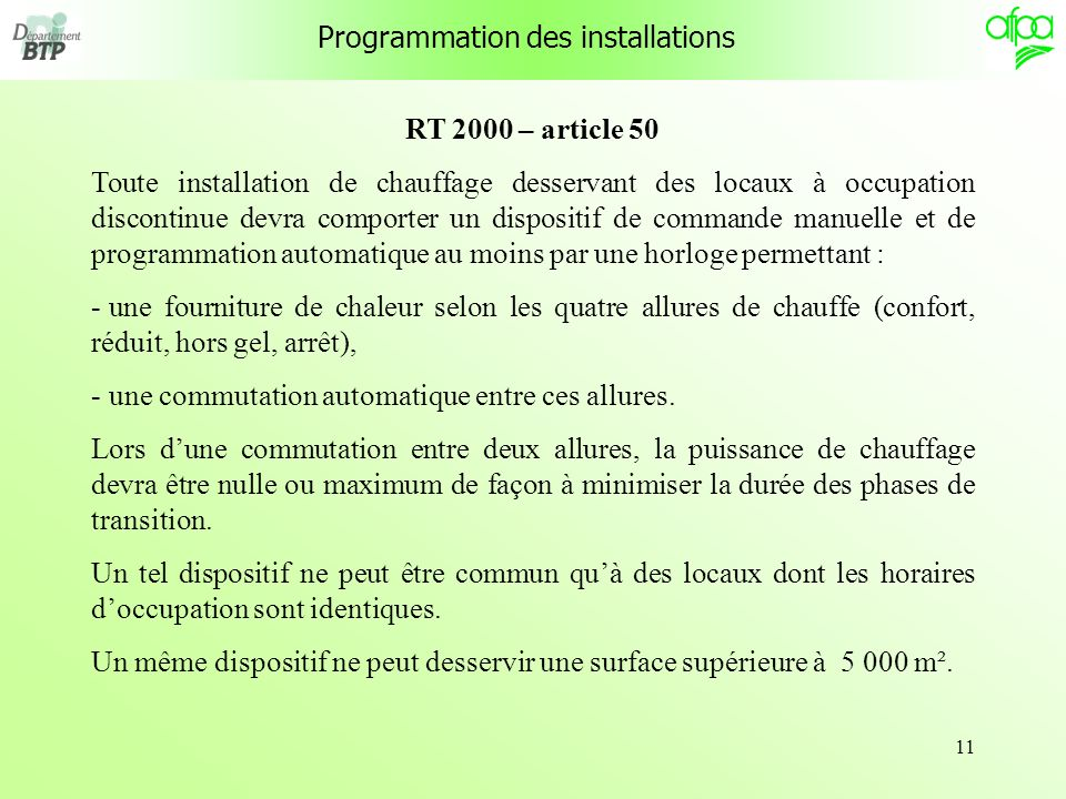 Programmation des installations