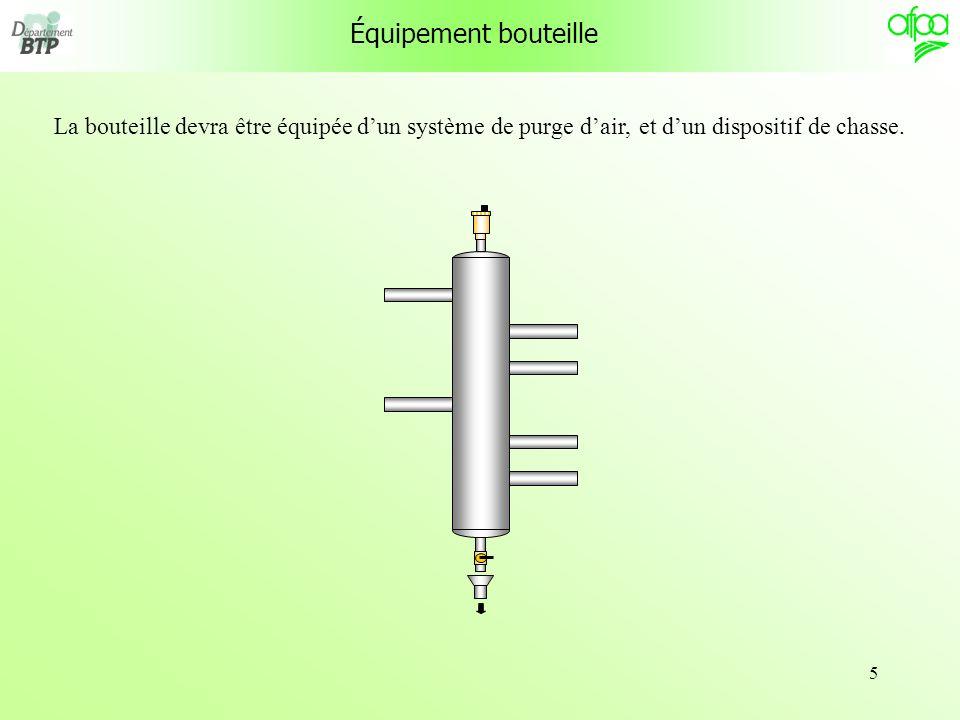 Équipement bouteille La bouteille devra être équipée d'un système de purge d'air, et d'un dispositif de chasse.