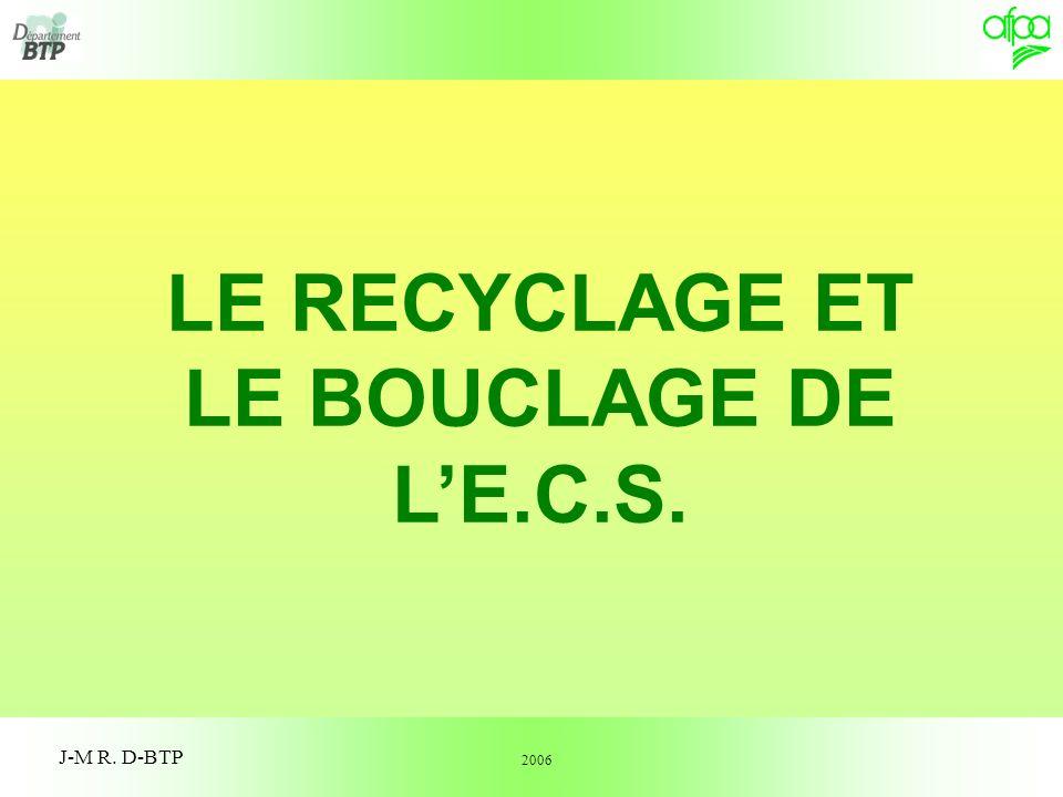LE RECYCLAGE ET LE BOUCLAGE DE L'E.C.S.