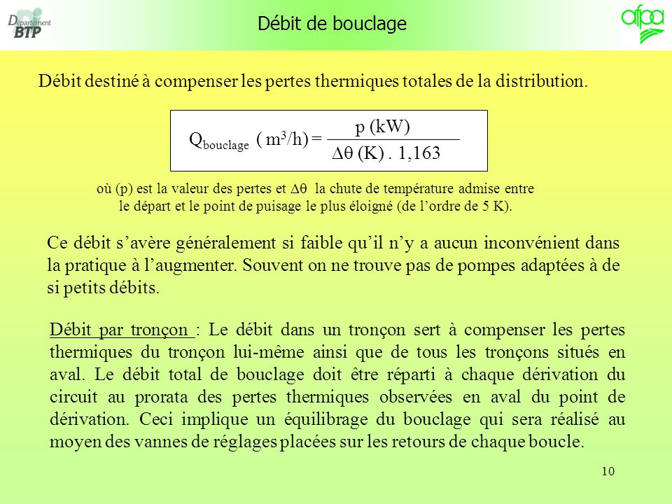 Débit de bouclageDébit destiné à compenser les pertes thermiques totales de la distribution. Qbouclage ( m3/h) =