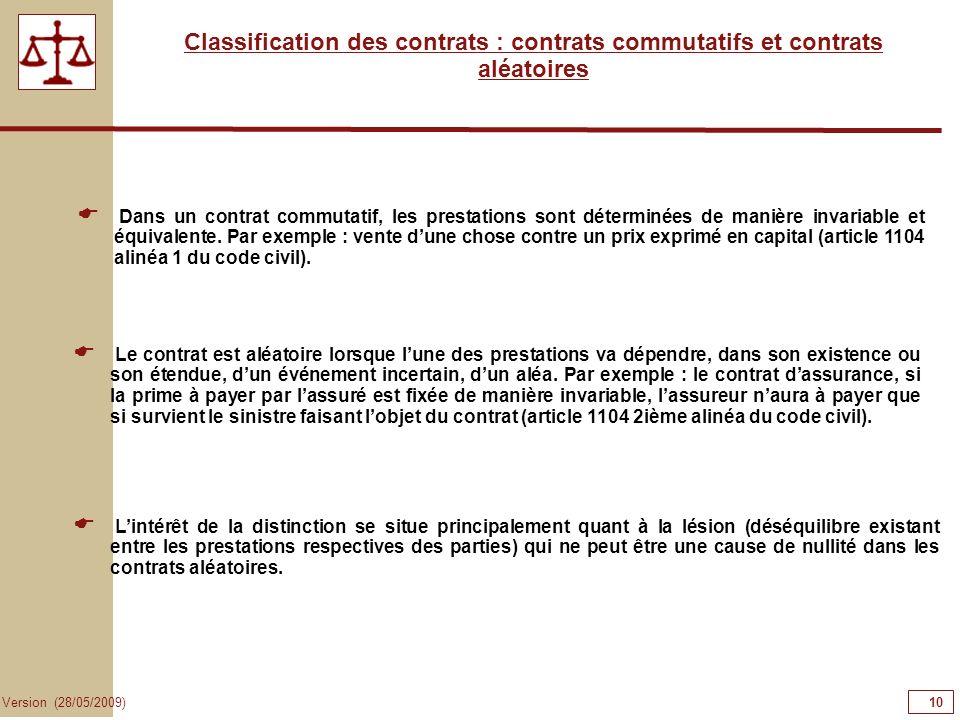 10101010 Classification des contrats : contrats commutatifs et contrats aléatoires.