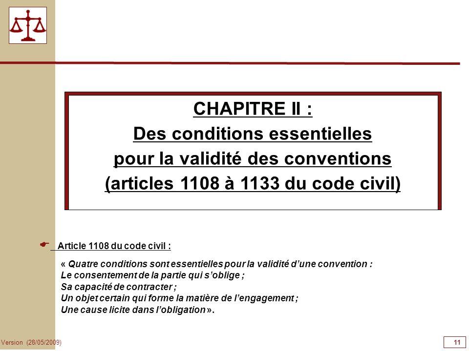Des conditions essentielles pour la validité des conventions
