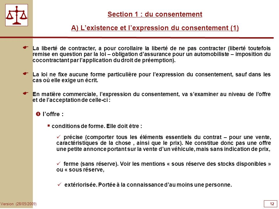 12121212 Section 1 : du consentement
