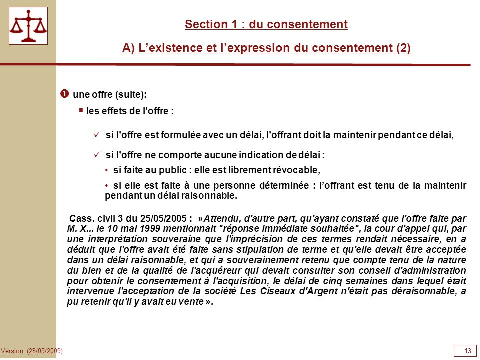 13131313 Section 1 : du consentement