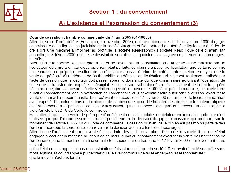 14141414 Section 1 : du consentement