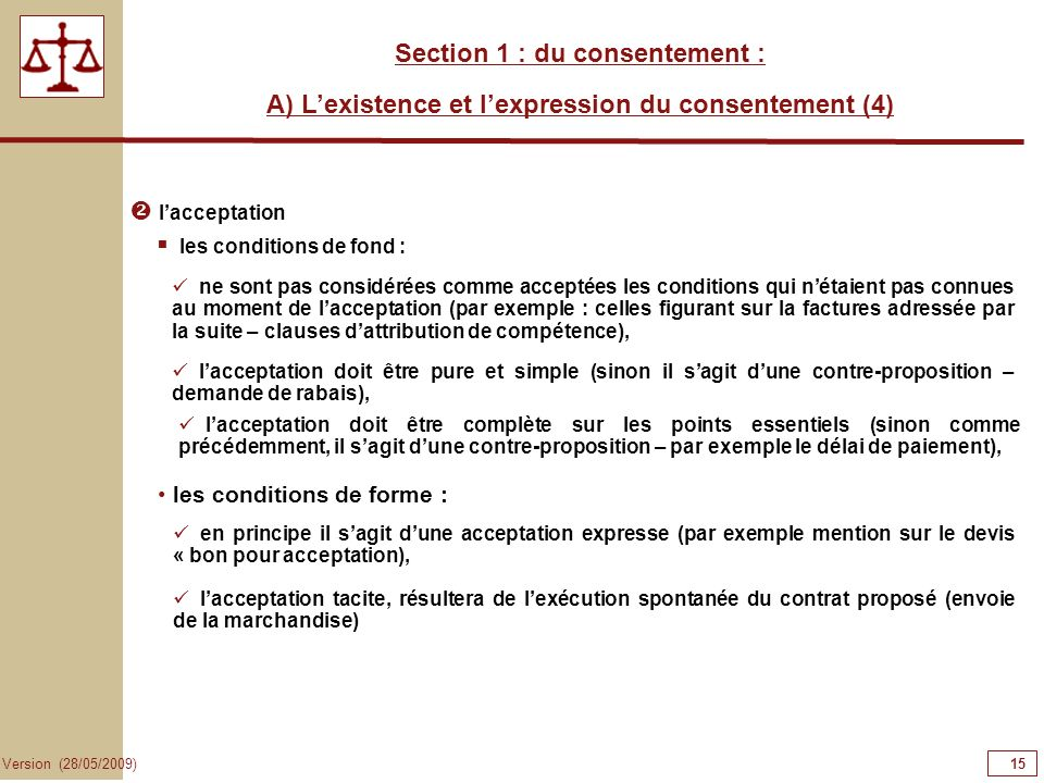 15151515 Section 1 : du consentement :