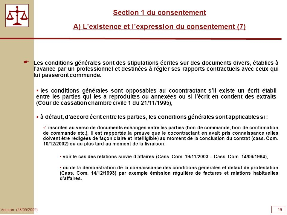 19191919 Section 1 du consentement