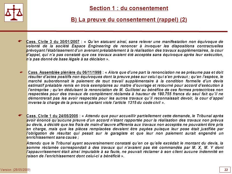 Section 1 : du consentement B) La preuve du consentement (rappel) (2)
