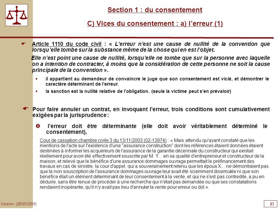 Section 1 : du consentement C) Vices du consentement : a) l'erreur (1)
