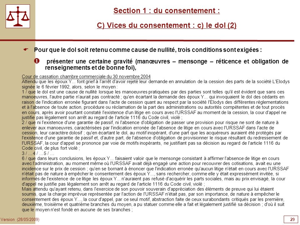 Section 1 : du consentement : C) Vices du consentement : c) le dol (2)