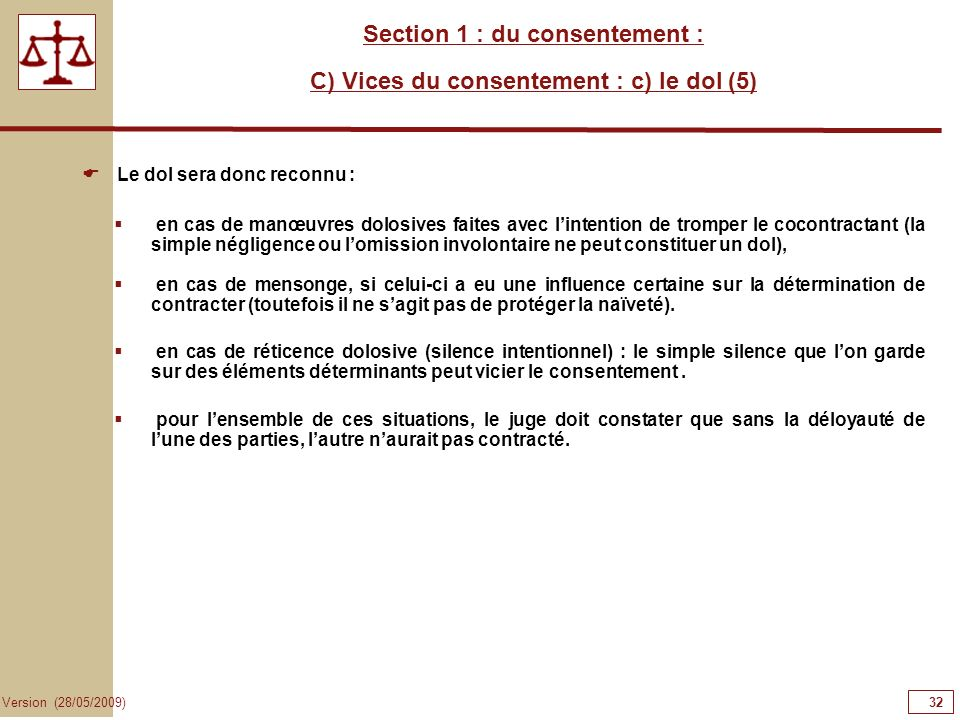 Section 1 : du consentement : C) Vices du consentement : c) le dol (5)