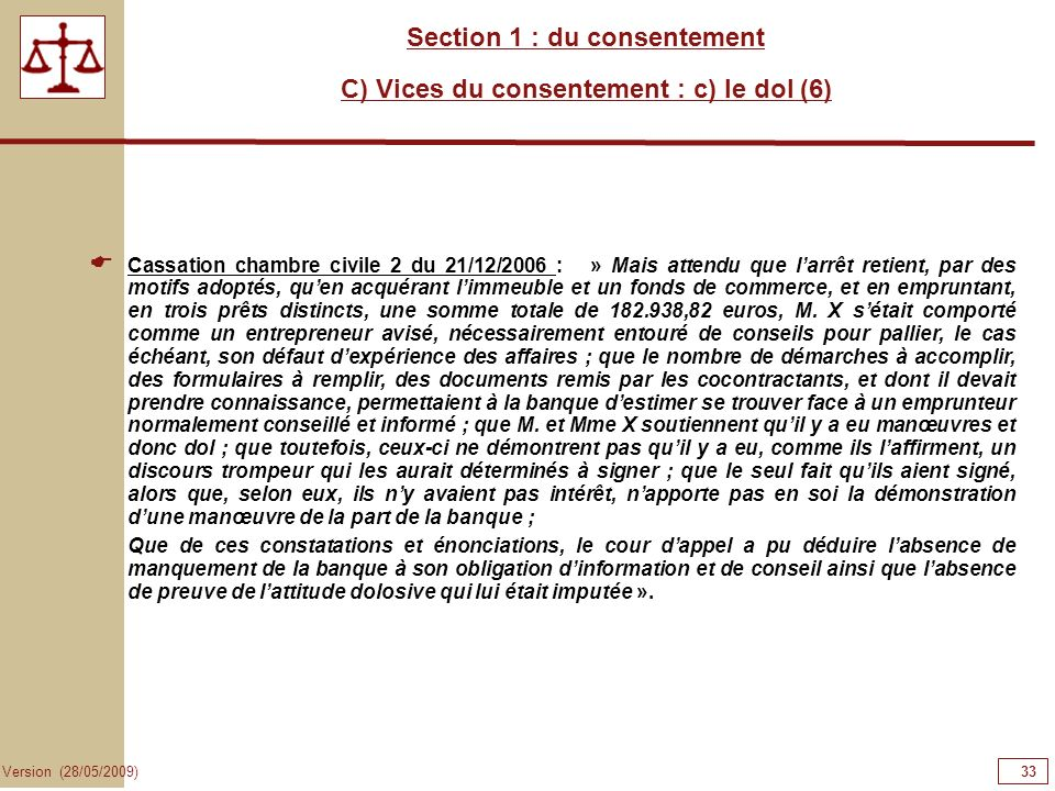 Section 1 : du consentement C) Vices du consentement : c) le dol (6)