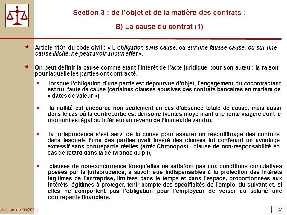 37373737 Section 3 : de l'objet et de la matière des contrats :