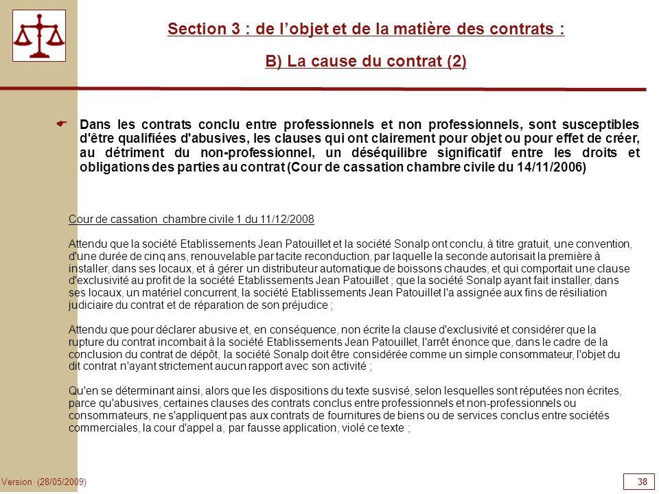 38383838 Section 3 : de l'objet et de la matière des contrats :