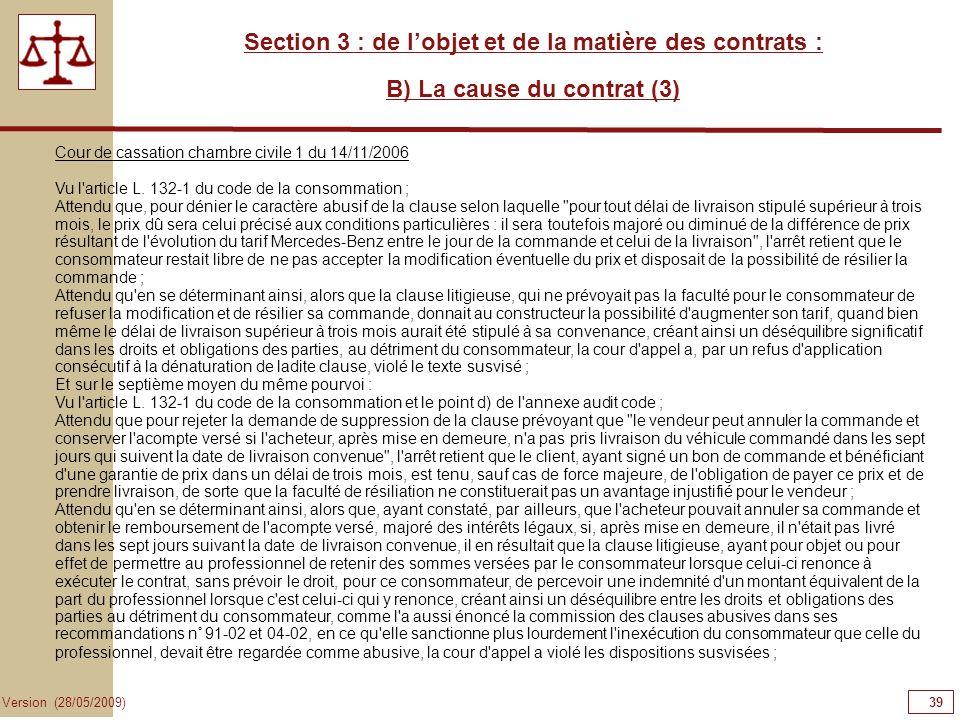 39393939 Section 3 : de l'objet et de la matière des contrats :