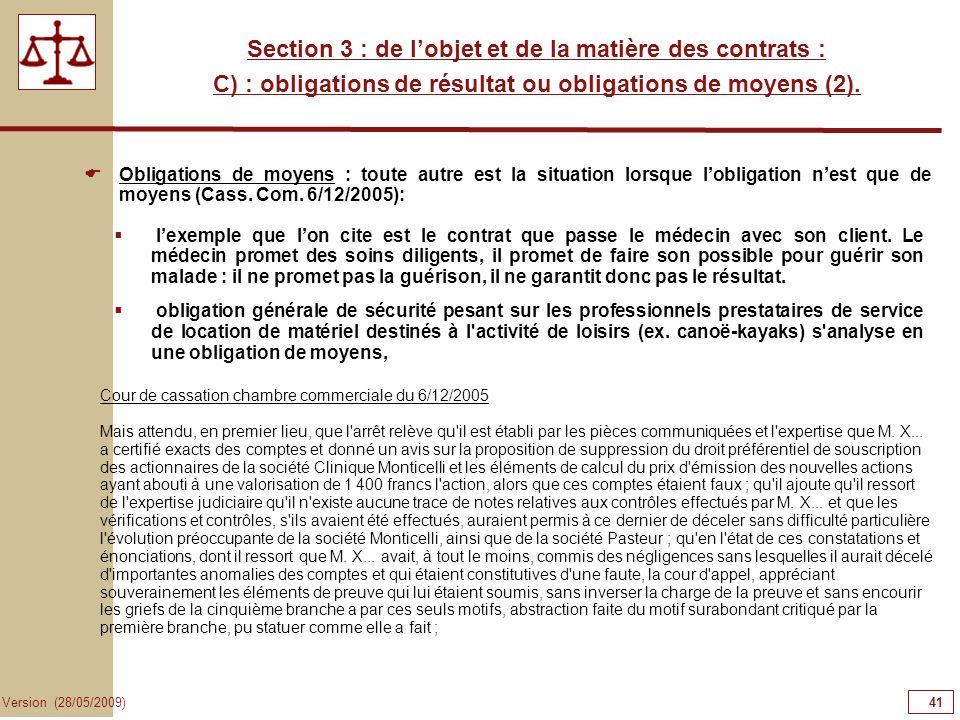 41414141 Section 3 : de l'objet et de la matière des contrats :