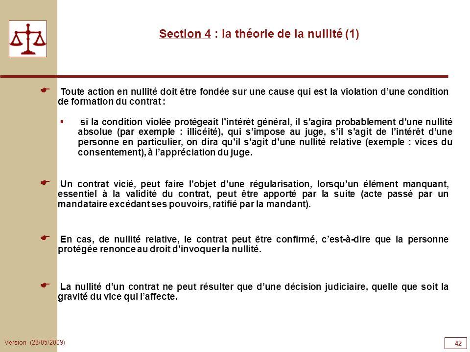 Section 4 : la théorie de la nullité (1)