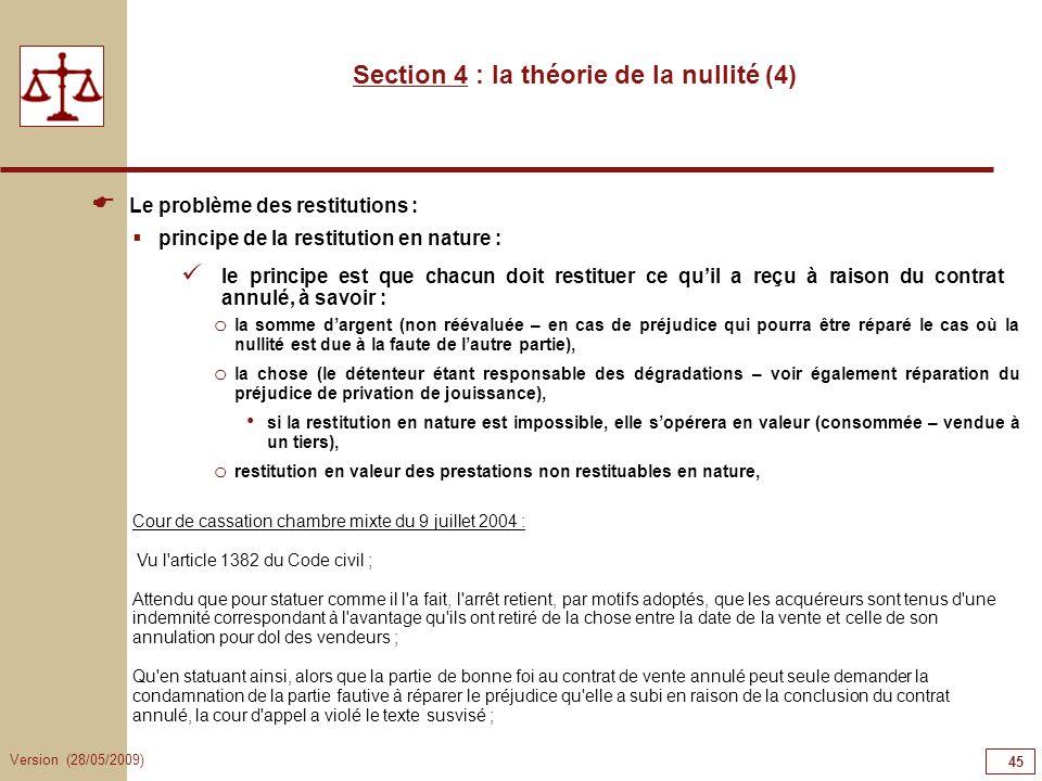 Section 4 : la théorie de la nullité (4)