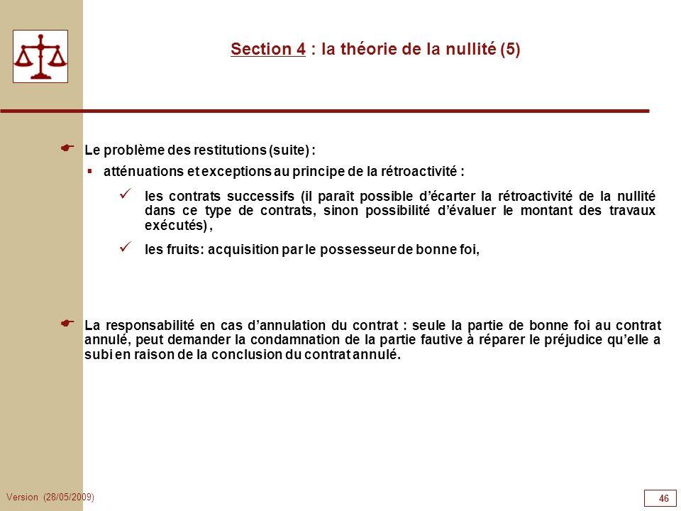 Section 4 : la théorie de la nullité (5)