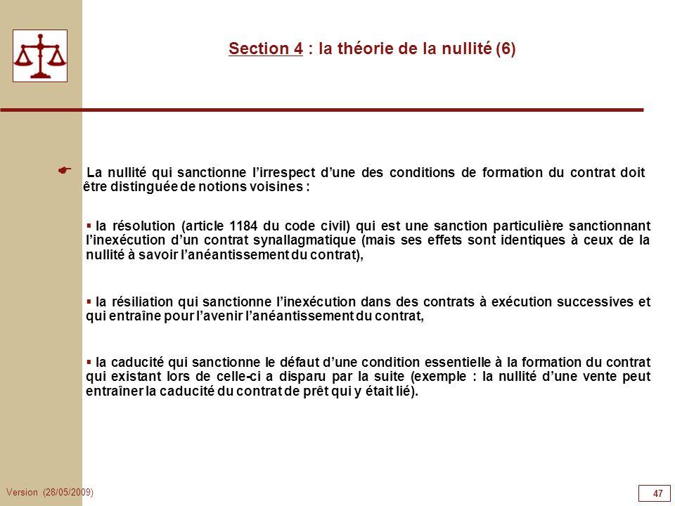 Section 4 : la théorie de la nullité (6)
