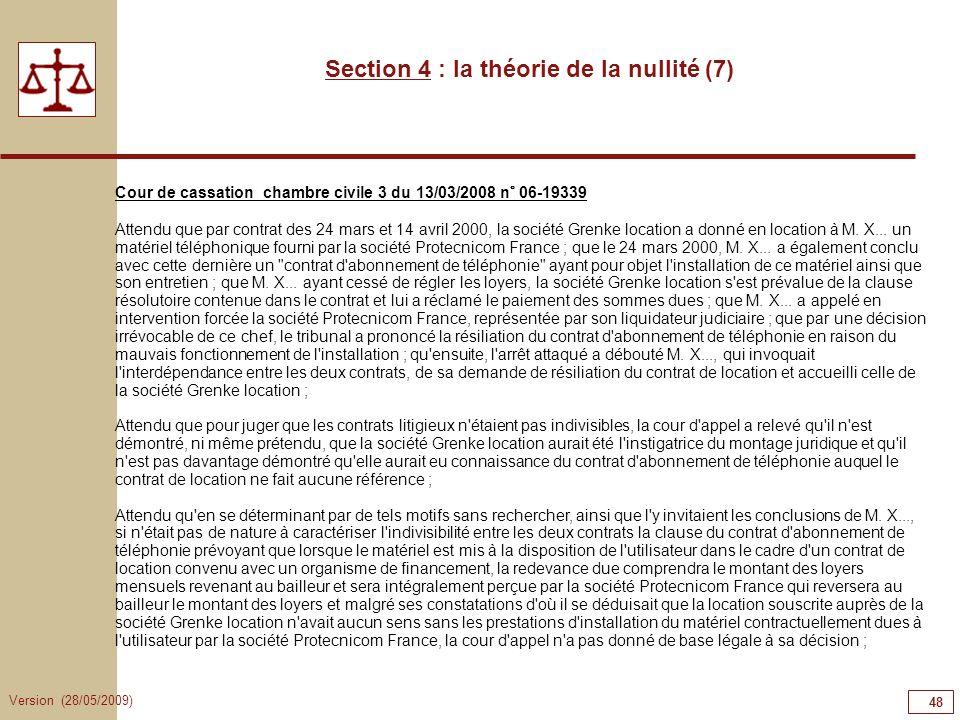 Section 4 : la théorie de la nullité (7)