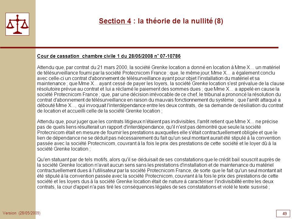 Section 4 : la théorie de la nullité (8)
