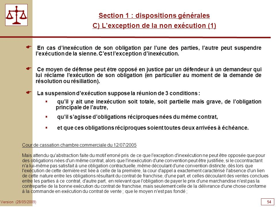 54545454 Section 1 : dispositions générales