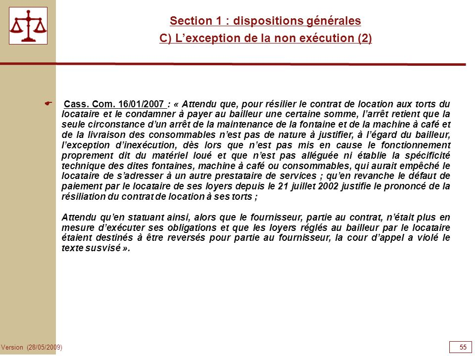 55555555 Section 1 : dispositions générales