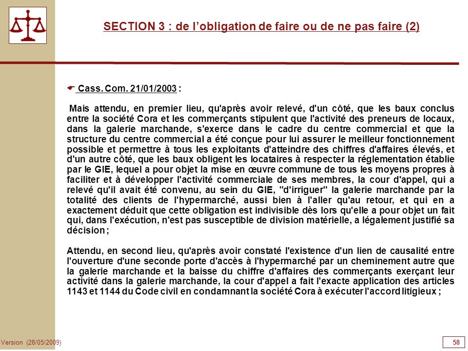 SECTION 3 : de l'obligation de faire ou de ne pas faire (2)