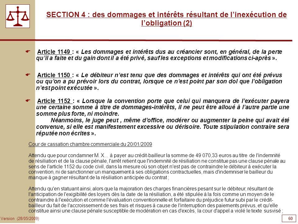 60606060SECTION 4 : des dommages et intérêts résultant de l'inexécution de l'obligation (2)