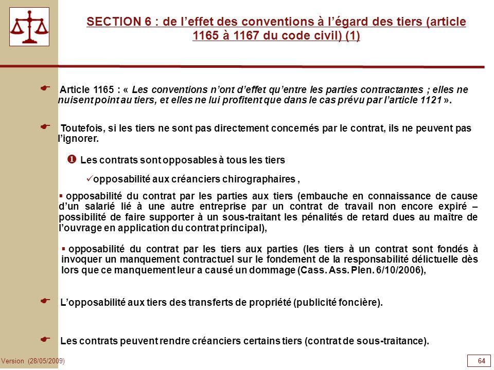 64646464 SECTION 6 : de l'effet des conventions à l'égard des tiers (article 1165 à 1167 du code civil) (1)