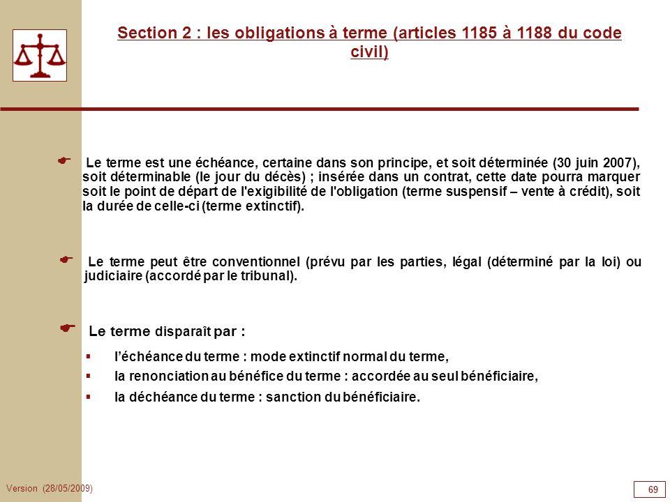 69696969Section 2 : les obligations à terme (articles 1185 à 1188 du code civil)