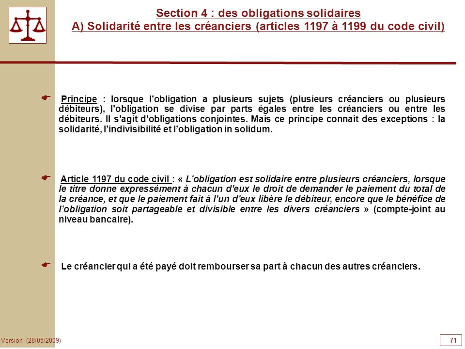Section 4 : des obligations solidaires