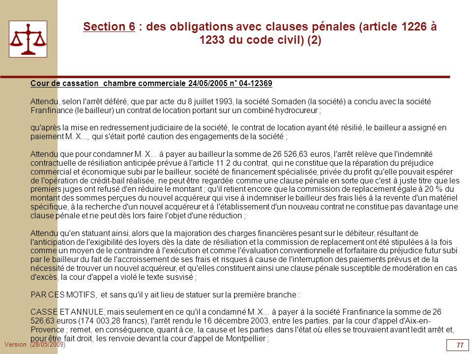 77777777Section 6 : des obligations avec clauses pénales (article 1226 à 1233 du code civil) (2)