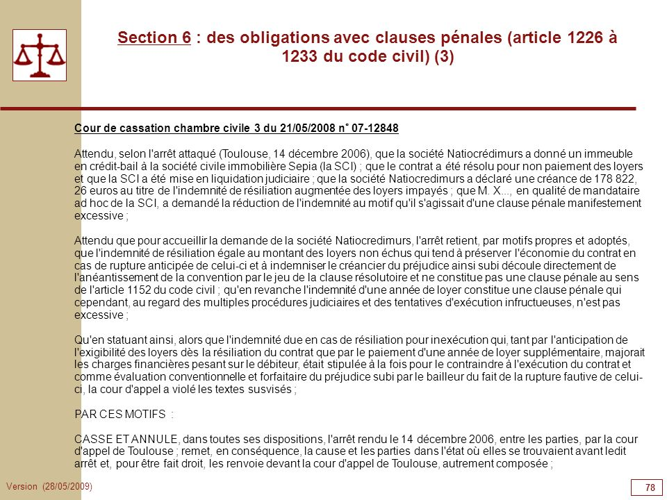 78787878 Section 6 : des obligations avec clauses pénales (article 1226 à 1233 du code civil) (3)