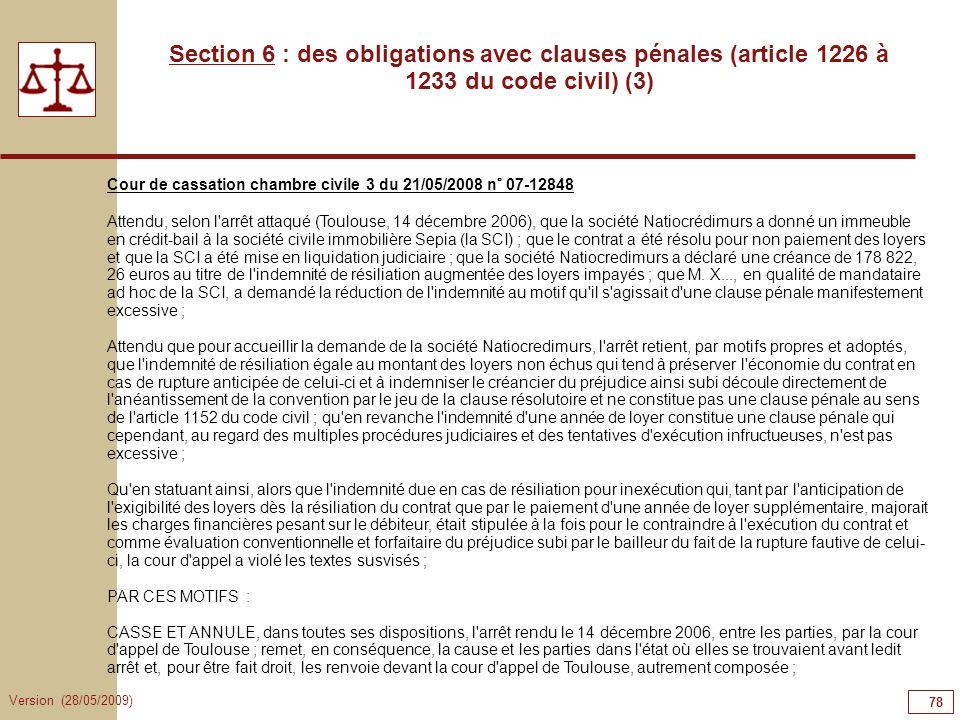 78787878Section 6 : des obligations avec clauses pénales (article 1226 à 1233 du code civil) (3)
