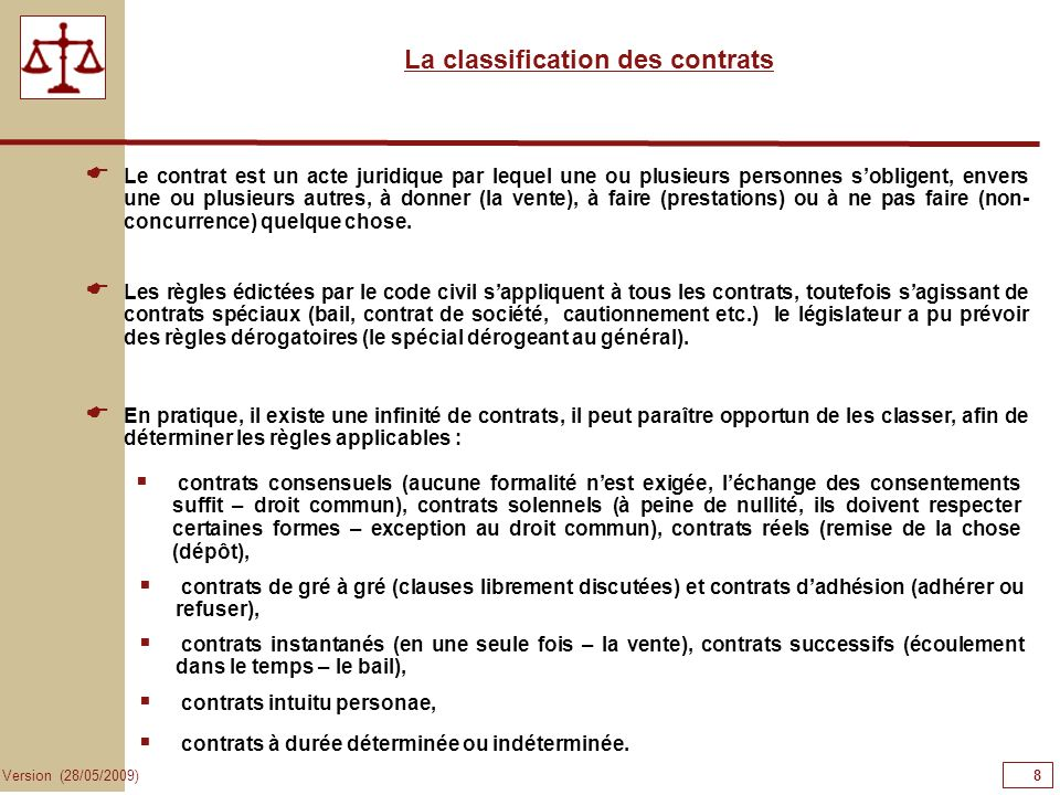 La classification des contrats